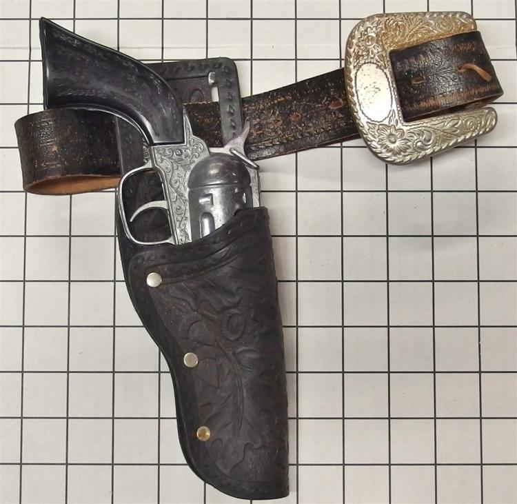 "Toy Cap Gun - 1970 Hubley/Gabriel PONYBOY, Black Stag Grips, 10""L, Black Tooled Leather Holster"