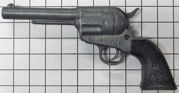 "Toy Cap Gun – 45 SMOKER, Product Eng. Co. Portland Oregon, 11""L"