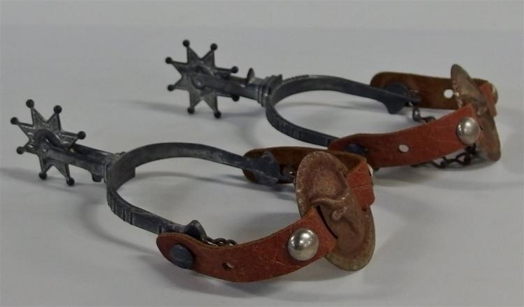 Toy Cowboy Western Spurs – Leather with Steer Head Medallions, Metal Spinning Stars 7""
