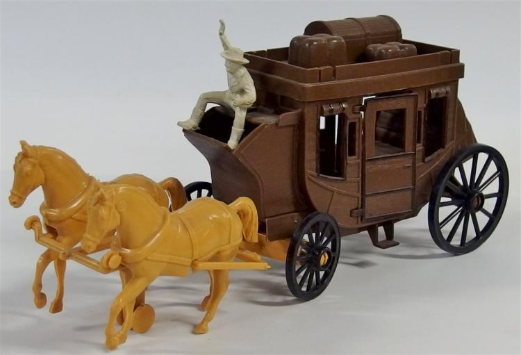 "Toy Stagecoach – 1970's Processed Plastic Co., 2 Tan Horses, Cowboy Figure, 11-1/2""L"