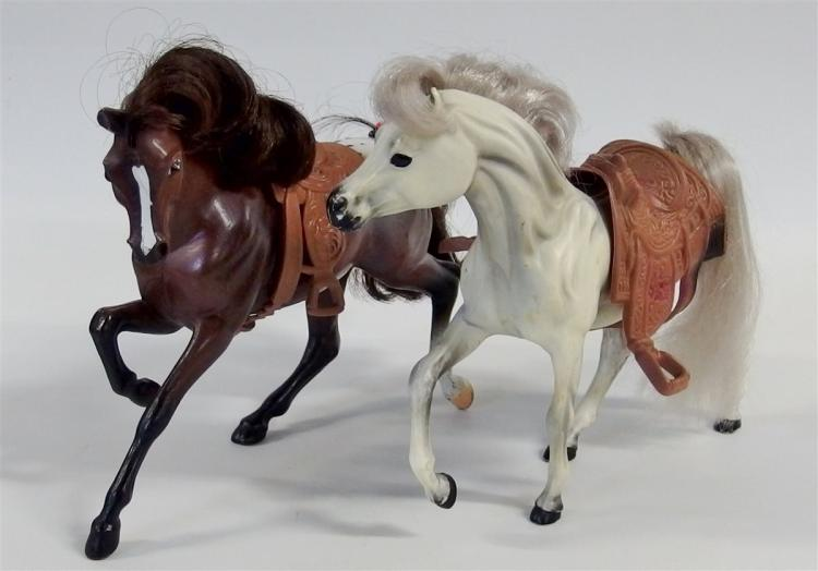 "Toy Horse – (2) Plastic Horses with Saddles, Brown and White, 7""H"