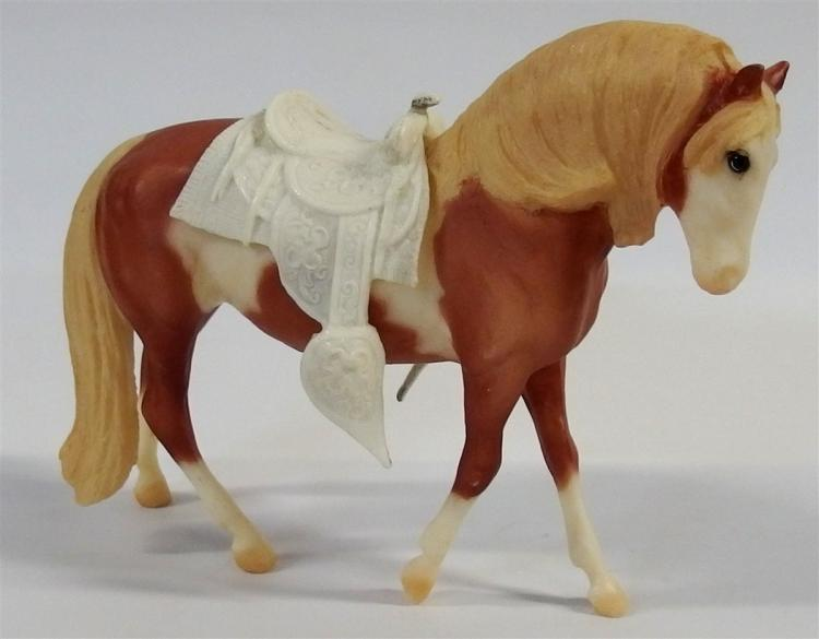"Toy Horse – Breyer Reeves Golden Stallion with Saddle, Silver logo, 6""H"