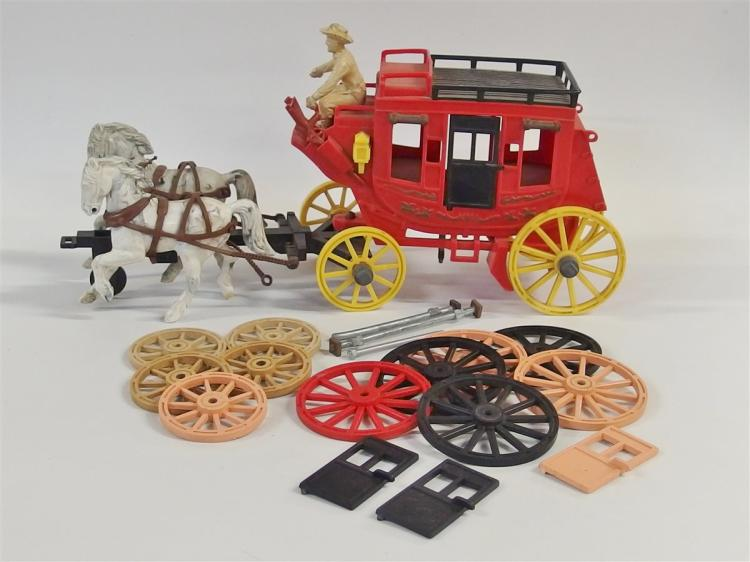Stagecoach - Vintage Ideal Fix-It Alamo Express Roy Rogers Toy Stagecoach, Red & Extra Parts