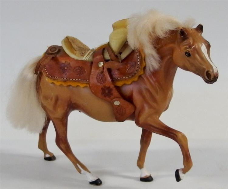 "Toy Horse – Brown with Tooled Leather Saddle, 7""H"