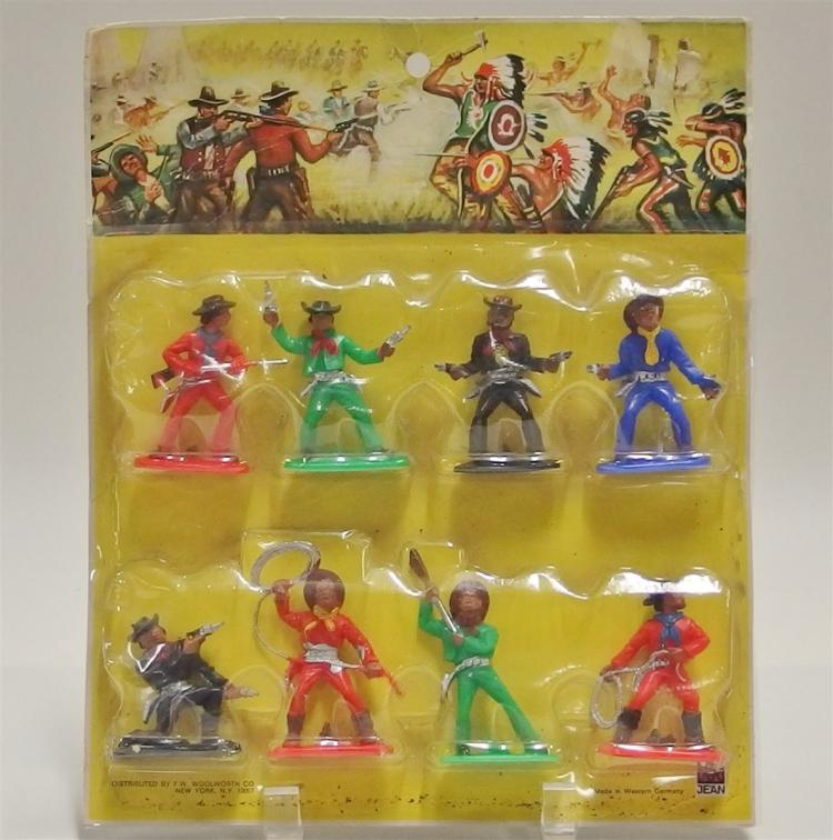 "Toy Cowboy & Indians - Set of 8 Figures, Jean West Germany. Original package. 2-1/2"" to 3""."
