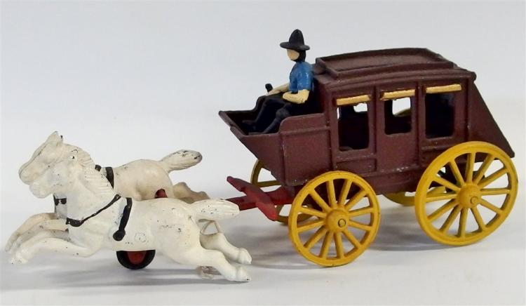 "Toy Stagecoach – Cast Iron, Brown with White Horses, Removable Cowboy Figure, 12""L"