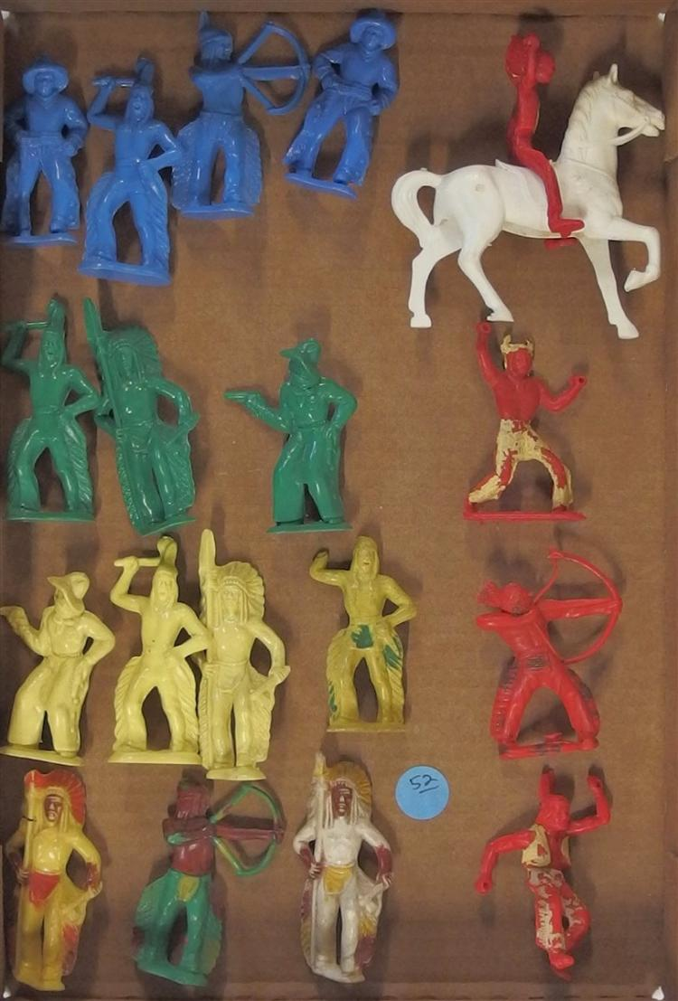 """Toy Cowboys & Indians - Vintage Hard Plastic 16 Figures, 3"""", Toxic, Display Only"""