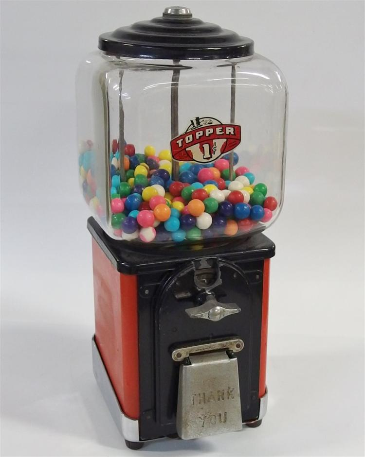 "Bubble Gum Machine – 1950's Victor Topper One Cent, Glass with Top Hat Globe logo, 16""H"