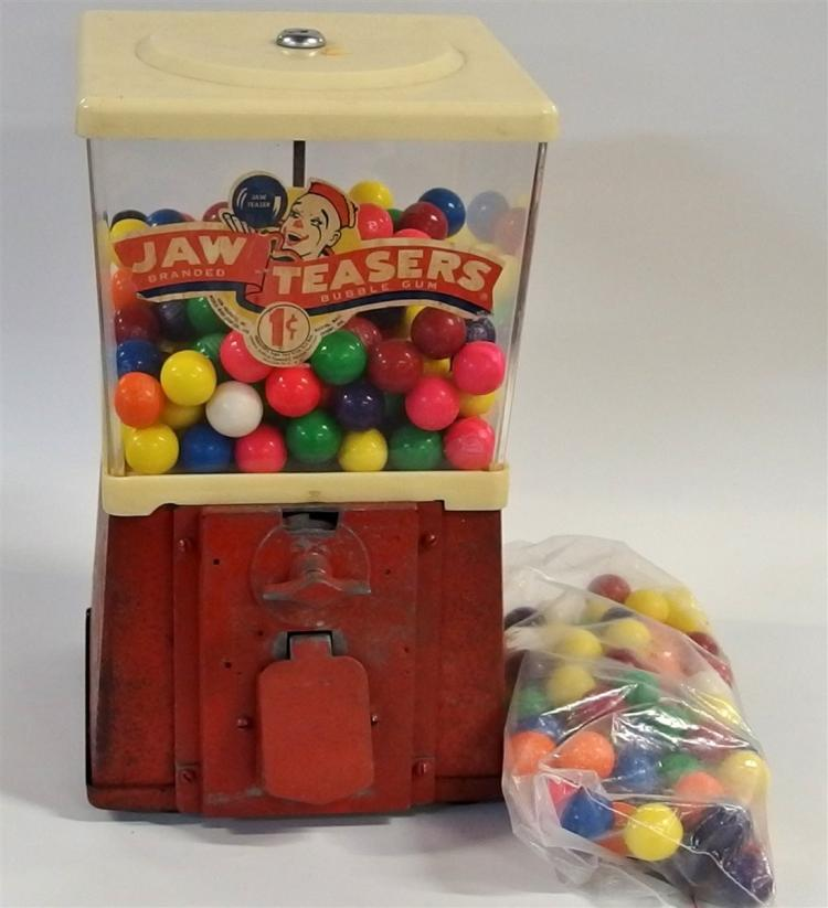 "Bubble Gum Machine – Jaw Teasers One Cent, Plastic with Clown logo, 14""H"