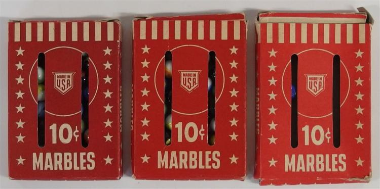 Marbles – 3 Boxes Red Stars & Stripes, 10 Cent, Made in USA, 2 Full, 1 Empty, 3-3/4 x 5-1/2""
