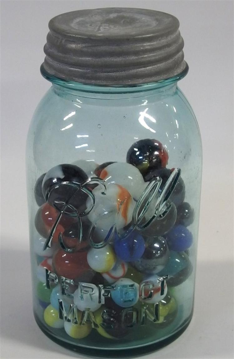 "Marbles – Blue Ball Mason Jar #2 with Shooters & Standard, 7""H"