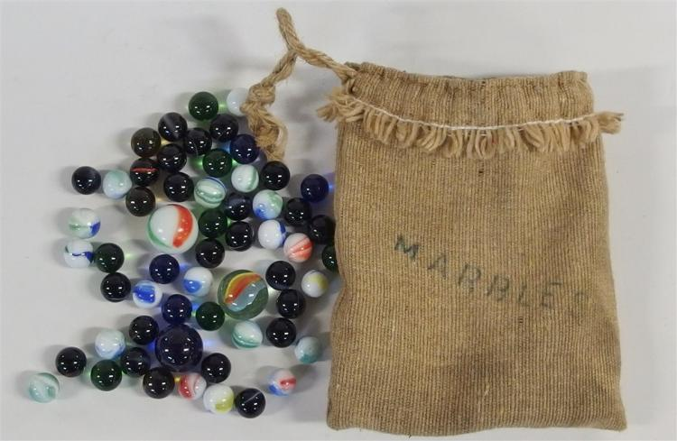 "Marbles – Burlap Sack with ""Marbles' Stenciled on Front, Shooters & Standard Marbles"