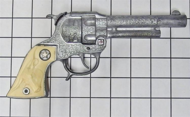 "Toy Cap Gun - Hubley TEXAN JR, White Longhorn Grips, 9""L"