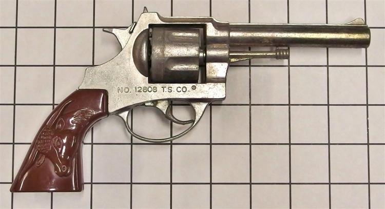 "Toy Cap Gun – 12 SHOTS NO. 12808 T.S. CO , Brown Steer Head Grips, 11""L"