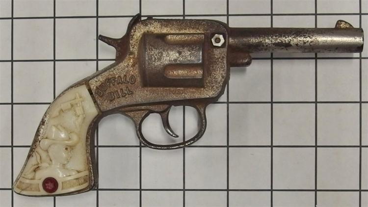 """Toy Cap Gun - 1940 Stevens BUFFALO BILL Cast Iron, White Horse Head, Cowboy Grip, 8""""L"""