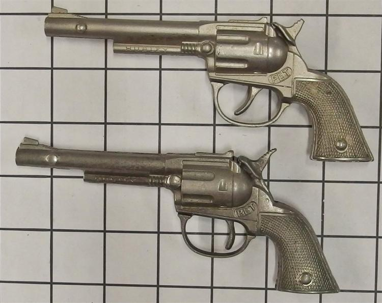 "Toy Cap Gun – (2) 1950's Hubley PET, Die Cast Nickel, 6""L, LARAMIE Leather Double Holster, 28""L"