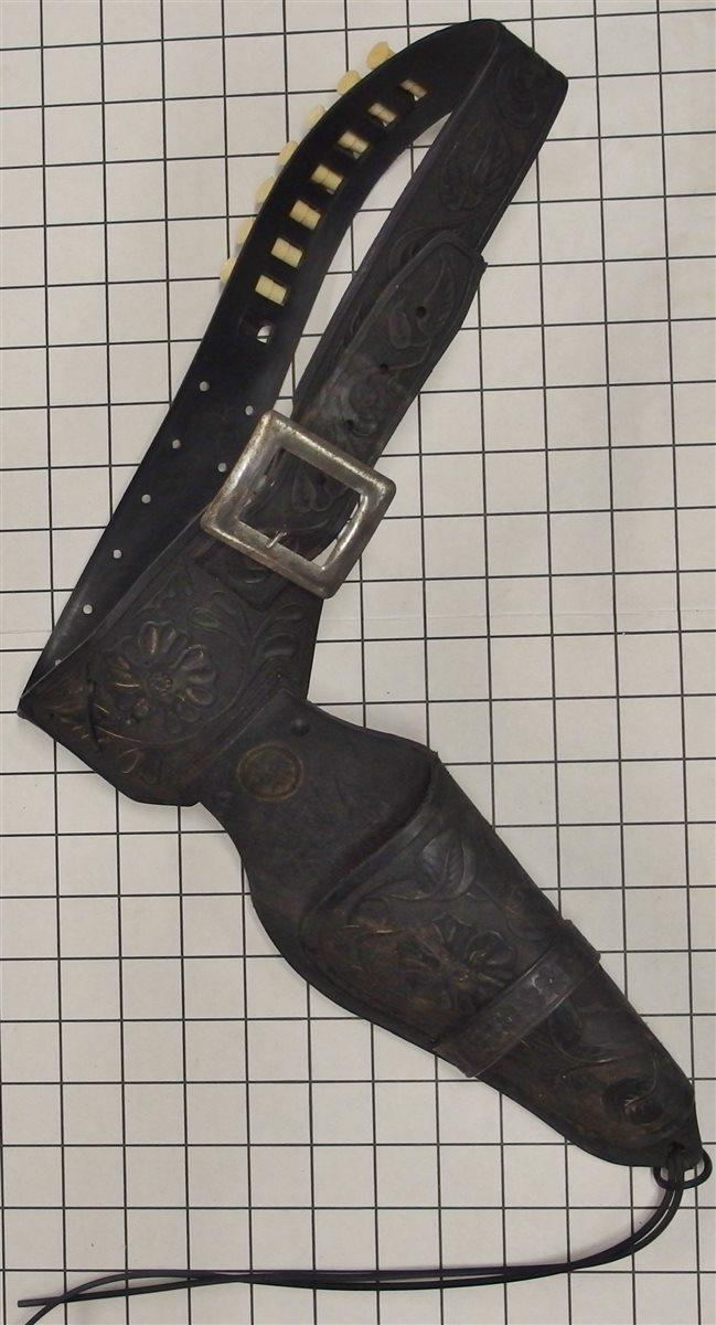 "Toy Cap Gun – MARX Toys Black Leather Holster, Holds 8""-9"" Cap Guns, 32""L"
