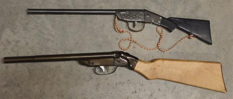 "Toy Rifle – (2) 1955 Daisy Double Barrel Shot Gun, 21""L. Shotgun, Black Stock, 19""L"