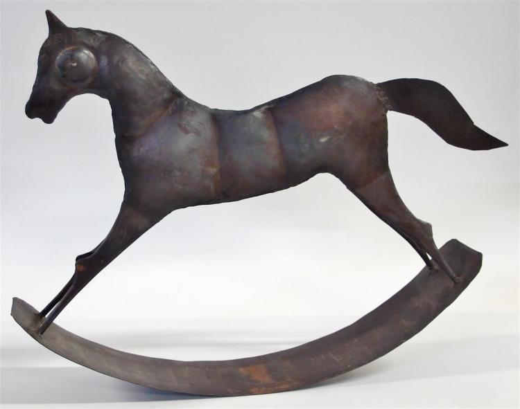 "Metal Folk Art Rocking Horse, 13""H x 17""L"