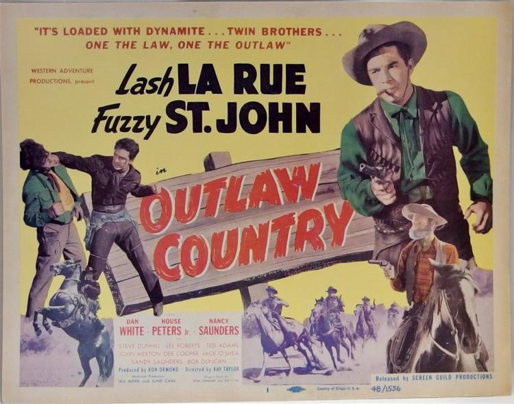 Movie Lobby Poster – LASH LA RUE Outlaw Country, 11x14