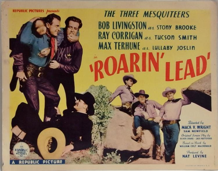 Movie Lobby Poster – THE THREE MESQUITEERS Roarin' Lead, 11x14