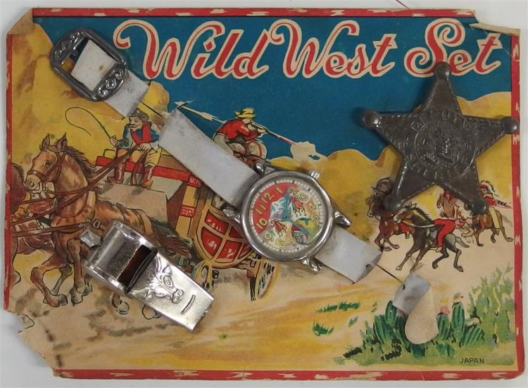 Wild West Set – Texas Longhorn Whistle, Cowboy Watch, Deputy Sheriff Badge, Japan