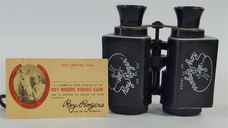 ROY ROGERS AND TRIGGER Binoculars, 1950's ROY ROGERS RIDERS CLUB Membership Card