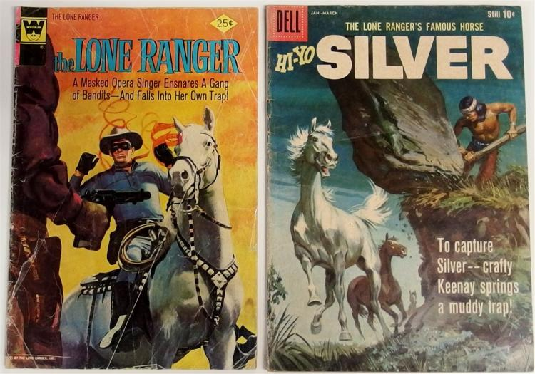 Comic Books – (2) 1957 LONE RANGER #19, Whitman.1960  HI-YO SILVER Vol. 2 #33, Dell Western