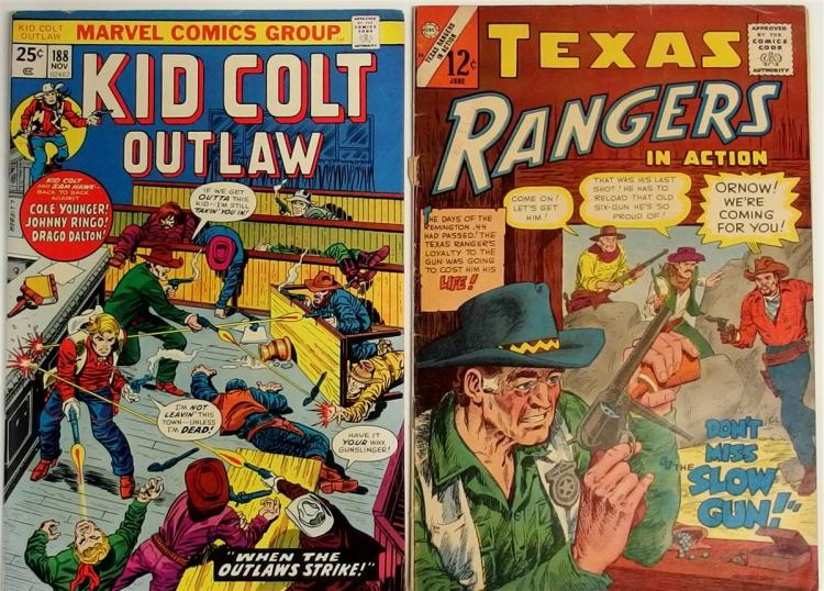 Comic Books – (2) 1966 TEXAS RANGERS Vol. 1 #5, CDC. 1974 KID COLT OUTLAW Vol 1 #188, Marvel