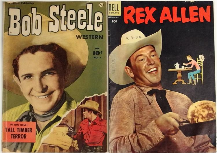 Comic Books – (2) 1955 REX ALLEN #16, Dell. 1951 BOB STEELE Vol. 2 #7, Fawcett