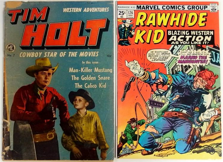 Comic Books – (2) 1949 TIM HOLT Vol. 1 #7, Magazine Ent. 1975 RAWHIDE KID Vol. 1 #126, Marvel.