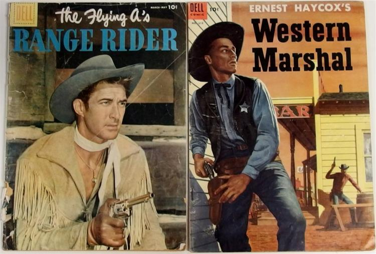 Comic Books – (2) 1954 WESTERN MARSHALL #613 Dell. 1956 THE FLYING A's RANGE RIDER #13, Dell.