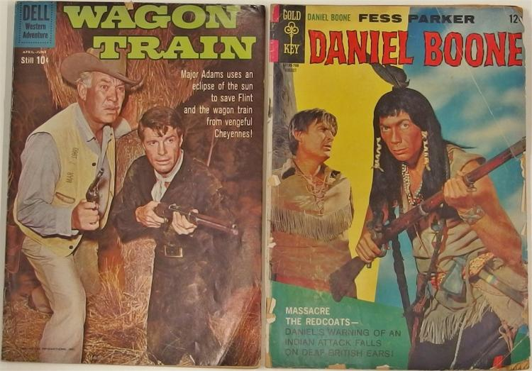 Comic Books – (2)  1960 WAGON TRAIN #5, Dell. 1967 DANIEL BOONE #10, Golden Key