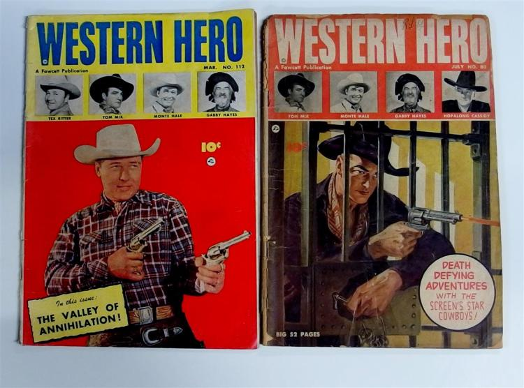Comic Books - (2) WESTERN HERO 1949 Vol. 14 #80 and 1952 Vol. 19 #112 Hopalong Cassidy, Tex Ritter, Tom Mix,Monte Hale, Gabby Hayes, Fawcett Pub.