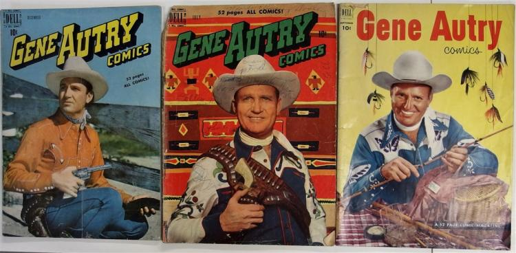Comic Books - (3) GENE AUTRY 1949 Vol. 1 #34, 1950 Vol. 1 #41, 1952 Vol. 1 #67, Dell Western