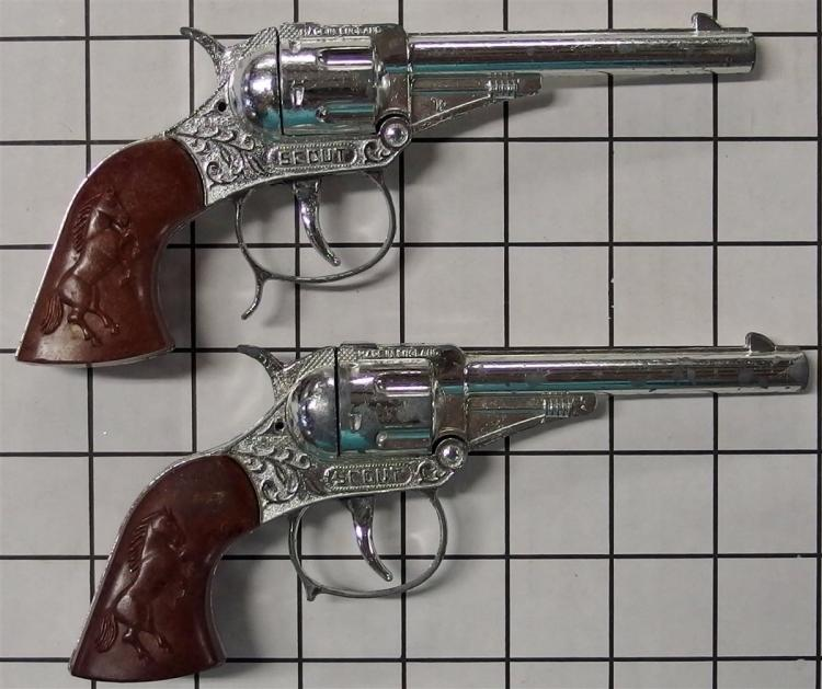 """Toy Cap Gun -  (2) Lone Star SCOUT Repeater, Break-open Action, Brown Rearing Stallion Grips, England, 7""""L"""