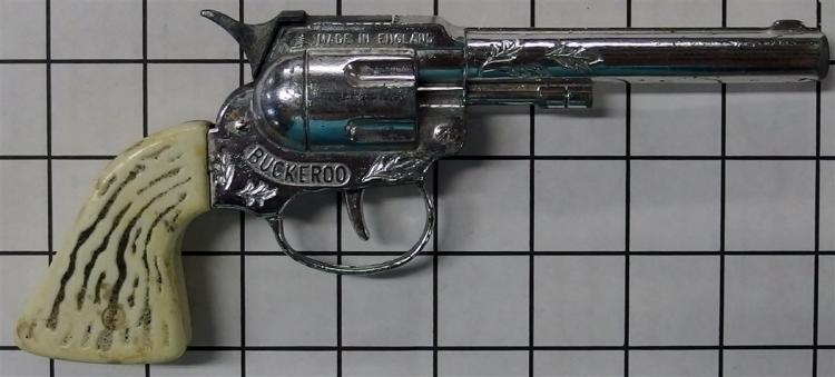 "Toy Cap Gun - Lone Star BUCKEROO Single Shot, England, White Stag Grip, 8""L"
