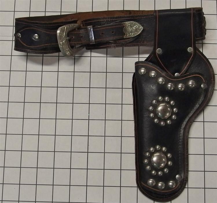 "Leather Holster - Black HOPALONG CASSIDY, Longhorn Buckle, 30""L"