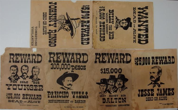 Wanted/ Reward Flyer Replicas - (6) James-Younger Gang, Poncho Villa, Jesse James, Dalton Gang, Johnny Ringo, Billy the Kid 9x11
