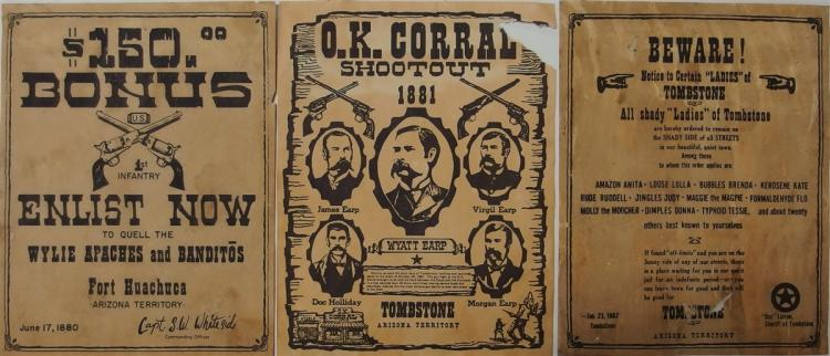"Arizona Territory Flyer Replicas - (3) Enlist to fight Apaches & Banditos, Beware All Shady ""Ladies"" of Tombstone, OK Corral Shootout.9x11"