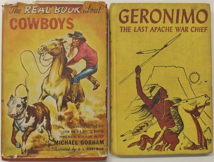 Books - (2) 1952 The Real Book About Cowboys, 1952 GERONIMO The Last Apache War Chief