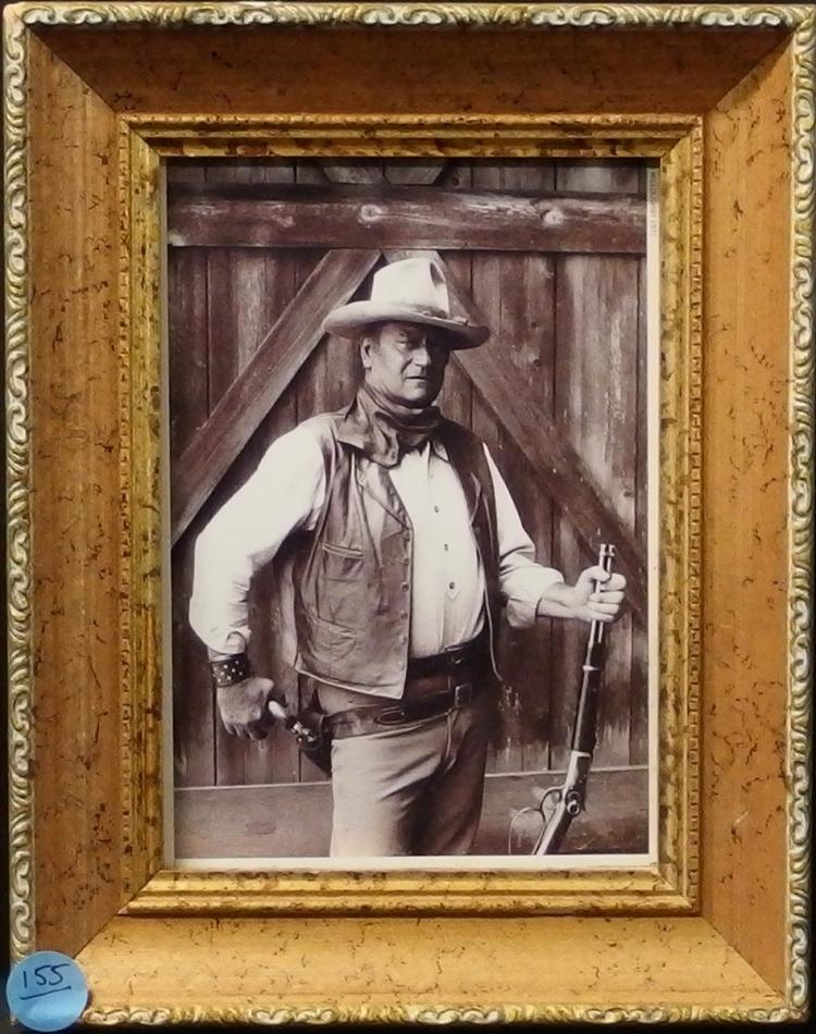 Western Movie Star Photo - JOHN WAYNE, 5X7 B&W, Giltwood Frame