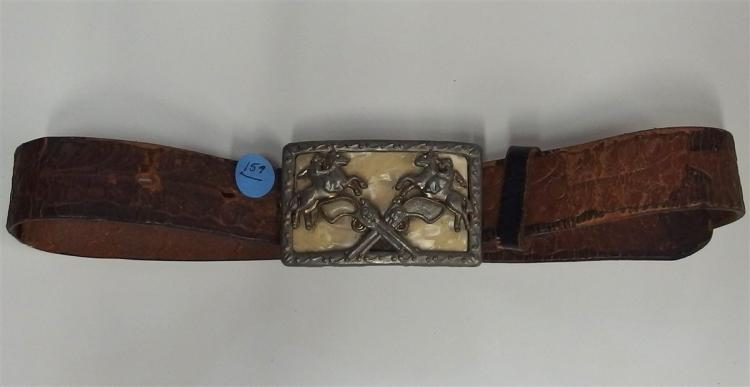 Belt Buckle - Cast Metal BRONCO RIDERS & REVOLVERS, 3-1/4 x 2-1/8, magnetic, Old Leather Belt, 32