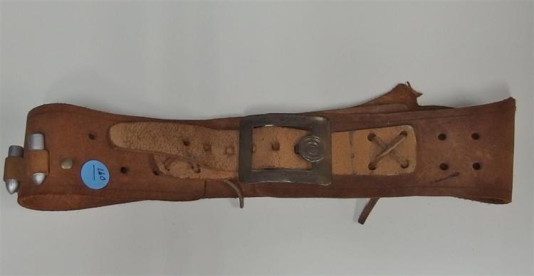"""Belt Buckle - Cast Metal BULL'S EYE, 2-1/2 x 2"""", Old Leather Belt, 32"""""""