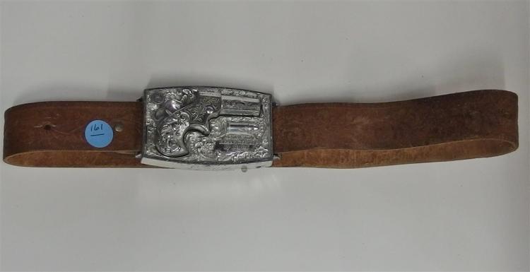 """Toy Cap Gun Belt Buckle - 1950's REMINGTON Derringer 1867 Buckle Gun by Mattel, Uses Stik-M-Caps, 3-1/2 x 2-1/2"""", Leather Belt, 30"""""""