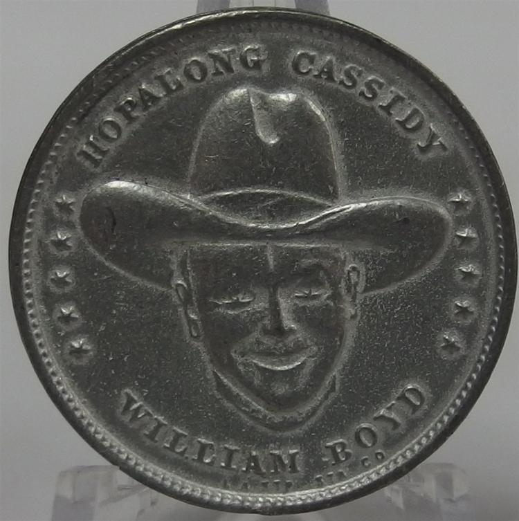 "Token Coin - HOPALONG CASSIDY William Boyd on both sides, Cast Aluminum, 1-1/8"""