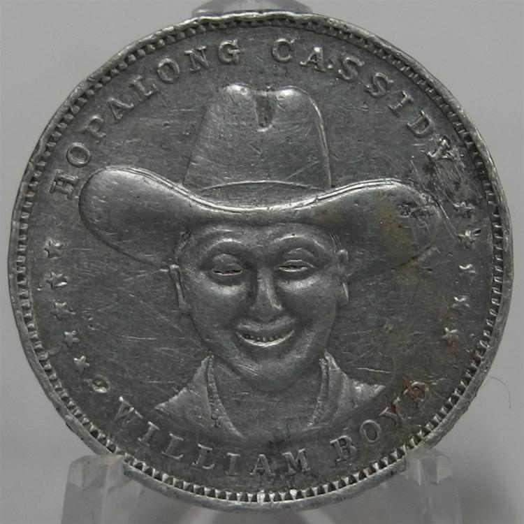 """Token Coin - HOPALONG CASSIDY William Boyd, Reverse Good Luck from Hoppy, Cast Aluminum, 1-1/8"""""""