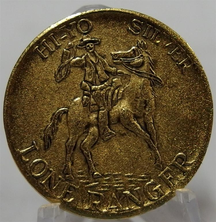 Token Coin - HI-YO SILVER LONE RANGER, Reverse Silver's Lucky Horseshoe, T.L.R., Goldtone Cast Aluminum, 1-3/8""