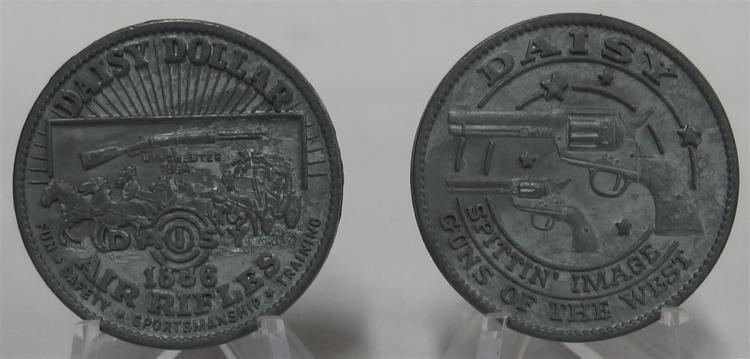 Token Coin - (2) DAISY DOLLAR Spittin' Image Guns of the West, SPRINGFIELD, WINCHESTER 1884, Cast Aluminum, 1-3/8""