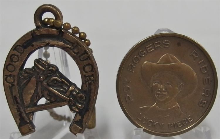 "Token Coin & Key chain - (2) RED RYDER RIDERS Lucky Piece, Reverse Good Luck RR Forever, Bronze Finish, 1-1/4"" . GOOD LUCK Horse Key Chain, 1-1/2"""